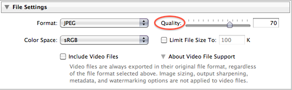 Lightroom JPEG export options